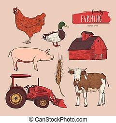Farm Set. Hand gezeichneter Illustrator.