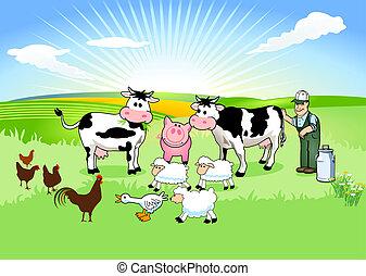 Farmer und seine Tiere