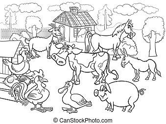Farmtiere Cartoon für Farbbuch
