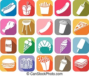 Fast Food Fla Icons Sammlung.