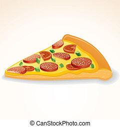 Fast Food Vektor Icon. Salami-Pizza