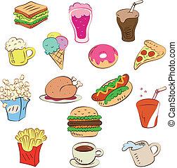 Fast Foods Icon Set.
