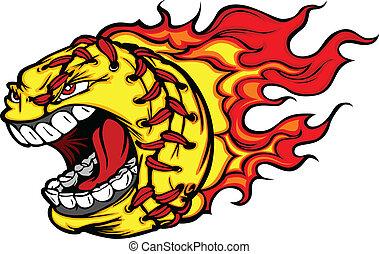 Fastpitch Softball-Ball schreien Gesicht mit Flammen Vektorbild.