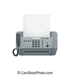 fax., vektor, vorrichtungen & hilfsmittel, phones., freigestellt, buero, drucker