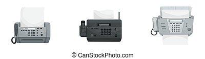 faxes., vektor, vorrichtungen & hilfsmittel, phones., satz, freigestellt, buero, drei, drucker
