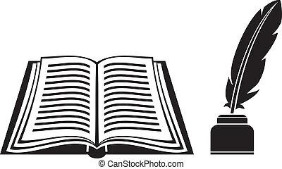 Feder und Buch.