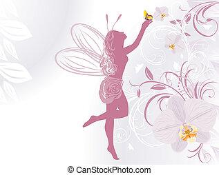 Fee im Hintergrund mit Orchideen
