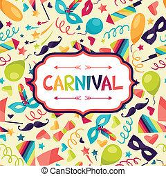 Feierlicher Hintergrund mit Karnevalssymbolen und Objekten.