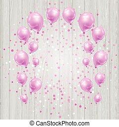 Feierlicher Hintergrund mit rosa Ballons und Konfetti.