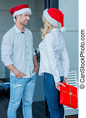 feiern, paar, junger, weihnachten