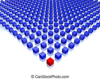 Feld blauer Würfel mit einem roten an der Ecke