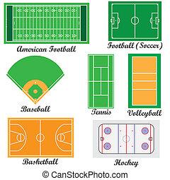 Felder für Sportspiele.