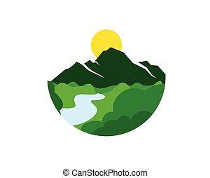 felsformation, berglandschaft, tal, wald, fluß