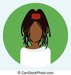 Female avatar Profil Icon rund um die afroamerikanische Frau Gesicht.