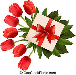 Ferienhintergrund mit einem Strauß roter Blumen und Geschenkdose. Vektor Illustration.