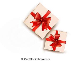 Ferienhintergrund mit Geschenkboxen mit rotem Bogen. Vektor Illustration