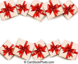 Ferienhintergrund mit Geschenken und roten Schleifen. Vector.