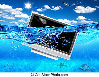 Fernsehbild im Meer. Ökologische Elektronik.