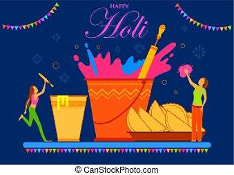 fest, bunte, glücklich, feier, grüße, holi, hintergrund, farben