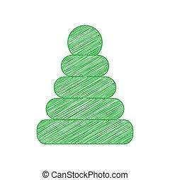 fest, pyramide, weißes, zeichen, kritzeln, hintergrund., grün, illustration., kontur, ikone