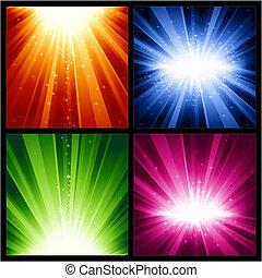 Feste Weihnachten, neue Jahre Explosionen von Licht und Sternen