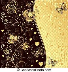 Fester Blumen- Valentinsrahmen mit goldenem Ast, Blumen, Herzen, Schmetterlingen.