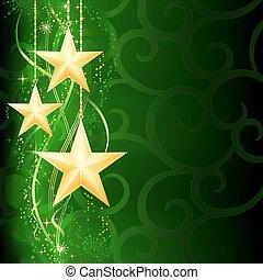 Fester, grüner Weihnachts Hintergrund mit goldenen Sternen, Schneeflocken und Grunge-Elementen.