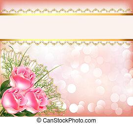 Fester Hintergrund mit dem Strauß der Rosen, Klebeband mit Spitze