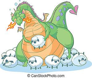 Fetter Cartoon-Drache mit Schafen