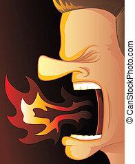 Feuer atmende Wut