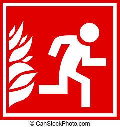 Feuer-Evakuierungszeichen.