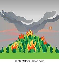 feuer, katastrophe, vektor, wohnung, bäume, wald, berg