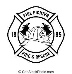 Feuer n resque : Feuerwehrabzeichen.