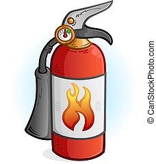 Feuerlöscher-Cartoon Illustration.