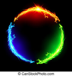 Feuert Drachen im Kreis.