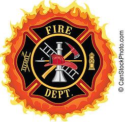 Feuerwehrkreuz mit Flammen