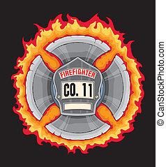 Feuerwehrkreuz mit Schild