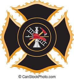 Feuerwehrmalteser Kreuzsymbol