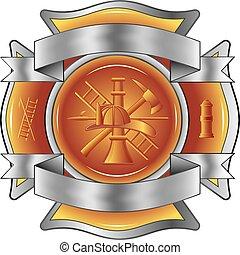 Feuerwehrmann hat Kreuze mit Werkzeugen eingeätzt