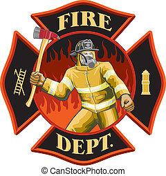 Feuerwehrmann im Kreuzsymbol.