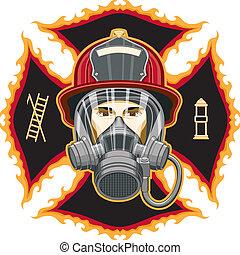 Feuerwehrmann mit Maske auf Kreuz.