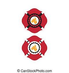 feuerwehrmann, vektor, logo, sitte, maltesisch, design, symbol, kreuz