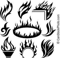 Feuerzeichen und Tattoos sind gesetzt