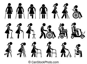 figur, medizin, piktogramm, icons., aids, ausrüstung, beweglichkeit, werkzeuge, stock