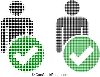 figur, pixel, halftone, mann, ikone, gültig