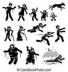 figuren, infected, stock, design., zeichen, zombie, familie