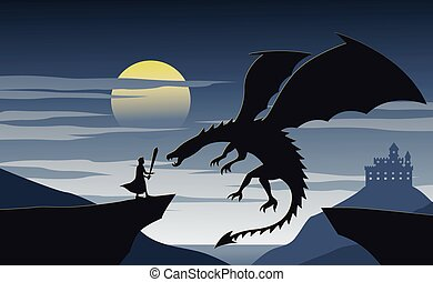 fiktion, ritter, nad, feuerdrachen, silhouette