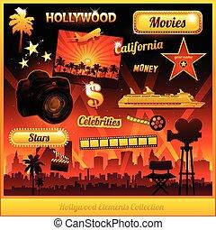 film, hollywood, elemente, kino