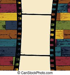 Filmstreifen auf farbenlosem Holz Hintergrund. Vector, EPS10
