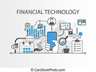 Financial Technology / Fin-Tech Konzept Vektorhintergrund mit Handbetrieb Smartphone.